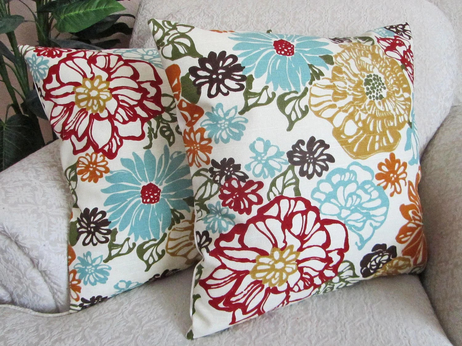 Floral Throw Pillow Cover Decorative Pillow Robins Egg Blue