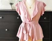 Short Sleeve Women Top, Summer Cardigan, Light Pink Vest, Women's Blouse