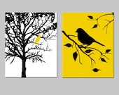 Birds and Trees - Set of Two 8x10 Prints - Bathroom, Nursery, Kitchen, Bedroom - Choose Your Colors - Shown in Yellow, Black, White - Tessyla