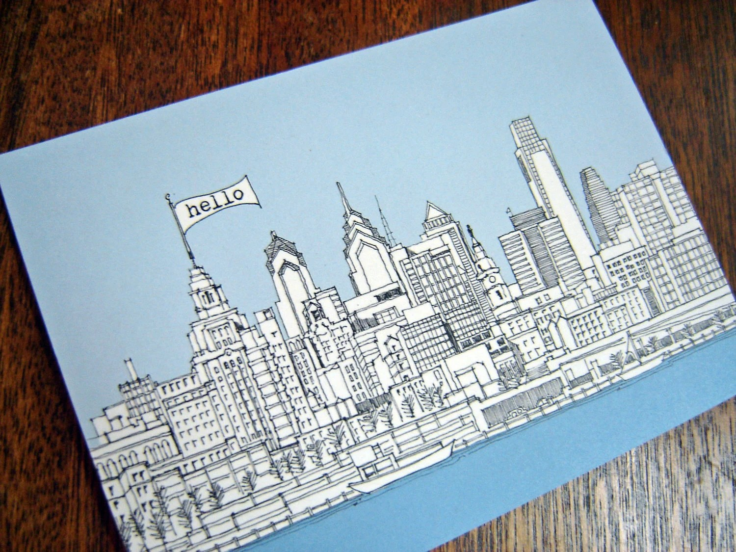 Philadelphia Skyline - postcards, set of 5 - rachelink