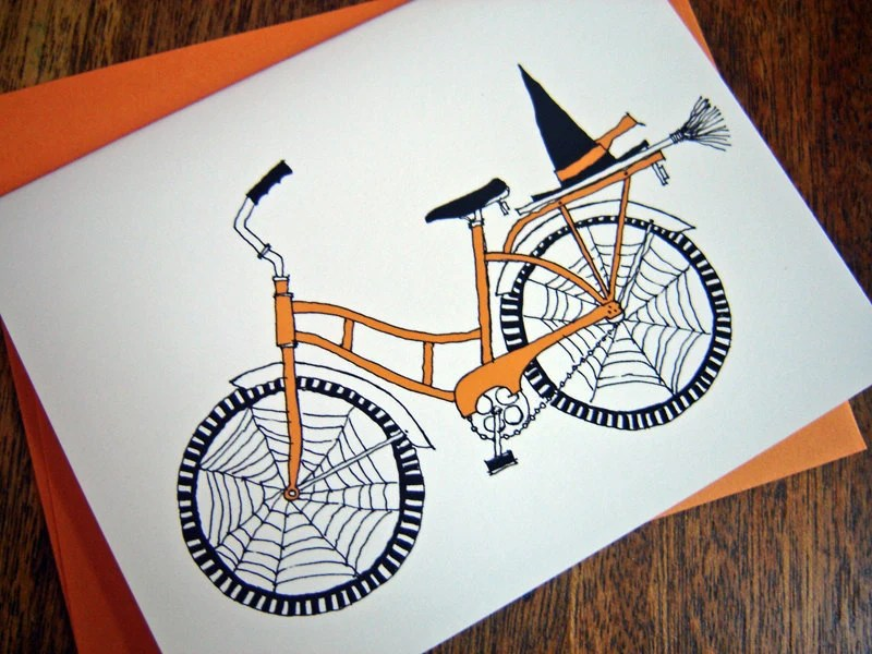 Halloween Card - Witch Bike - rachelink