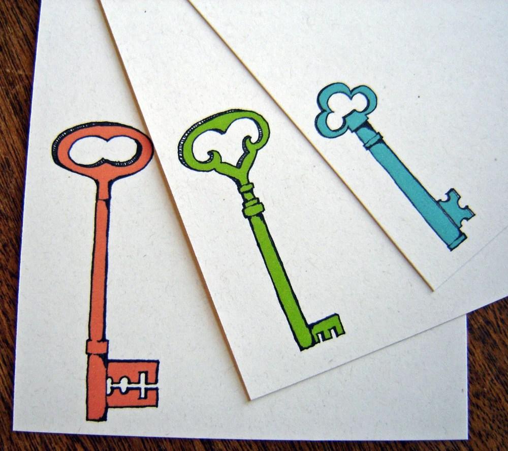 Spring Keys - Recycled Stationery  - set of 12 note flat cards - rachelink