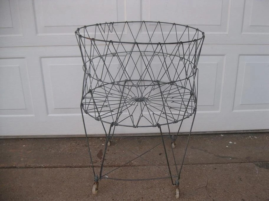Vintage Collapsible Wire Laundry Basket