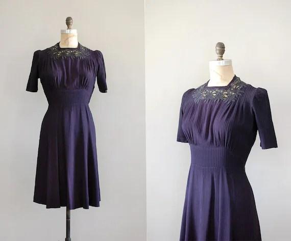 vintage rertro 1940's 40's purple tea eveing dress vintage clothing dresses dewvintage