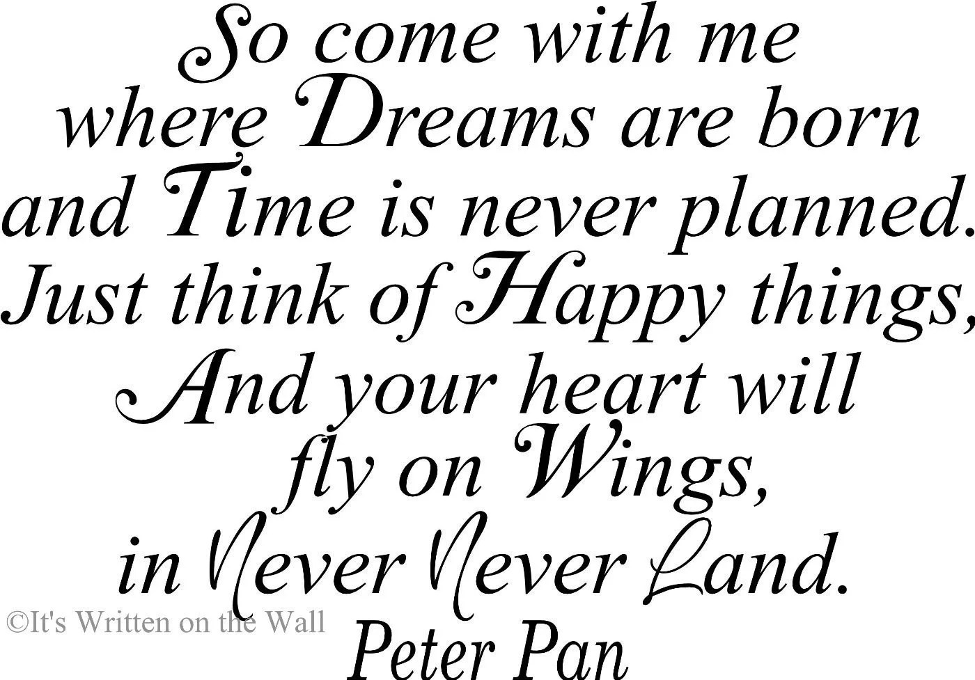 Peter Pan Quote Tinkerbell 21x15 So Come With Me Where Dreams