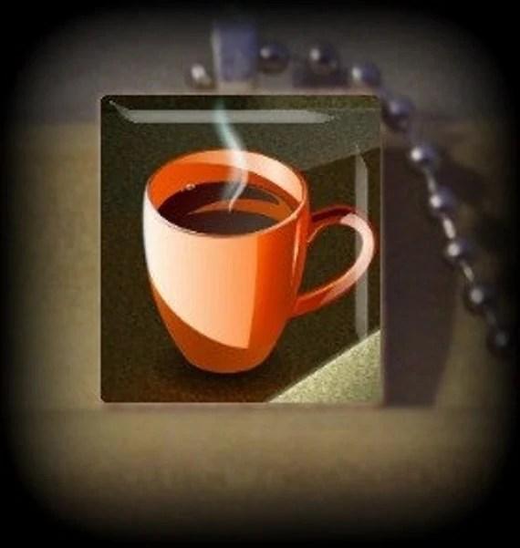Cup of Coffee num 2  (F 11) Vintage Scrabble Tile Pendant ..Buy 3 Get 1 Free