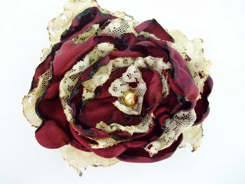 Red Wine Satin Flower Accessory, Hair Clip or Brooch, Wedding, Bridal Sash - OurPlaceToNest
