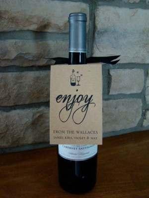 Personalized Bottle Tags - Enjoy Set of Six
