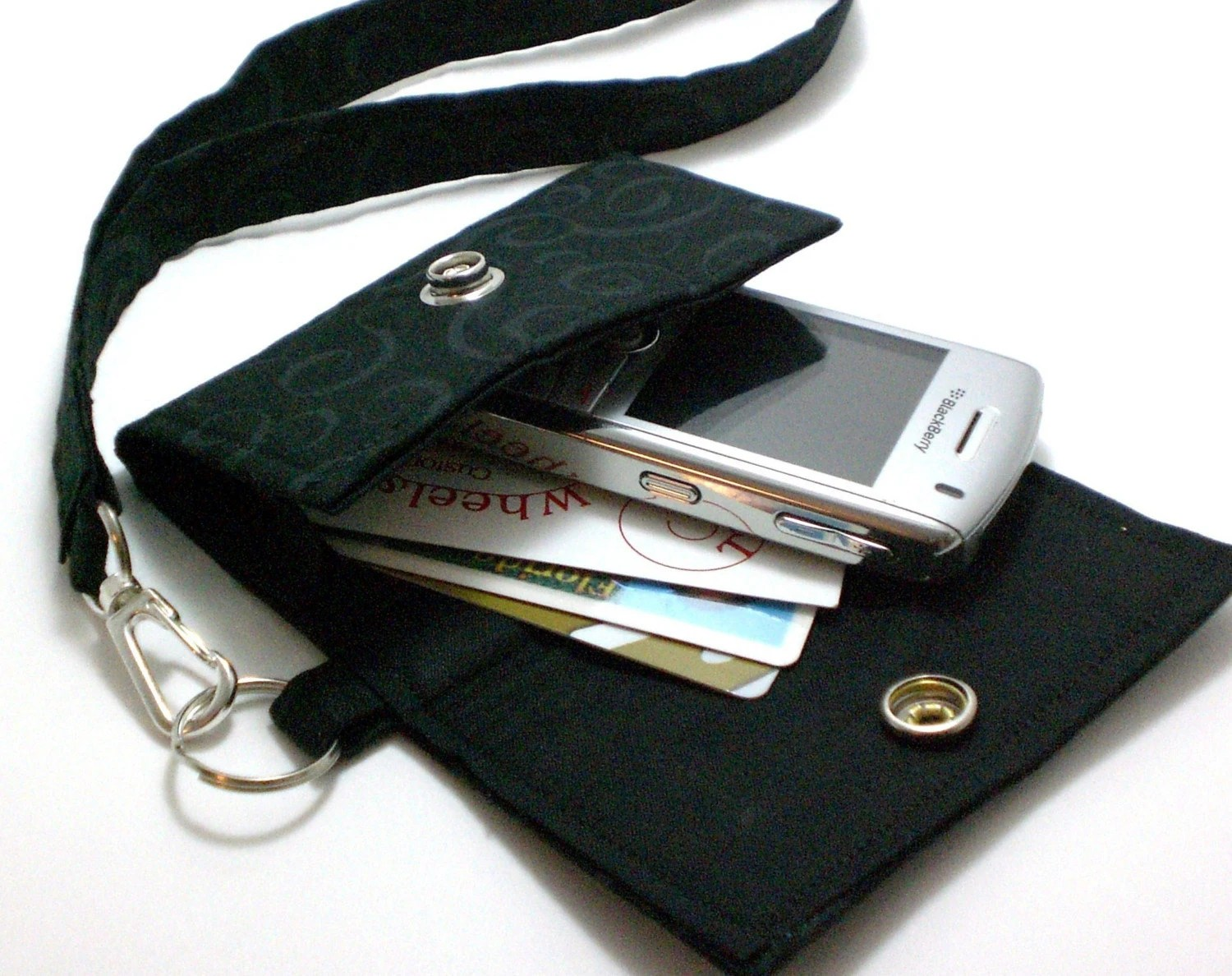 Cell Phone case with coordinating keychain wristlet and inside pocket -  black - FancyFerris
