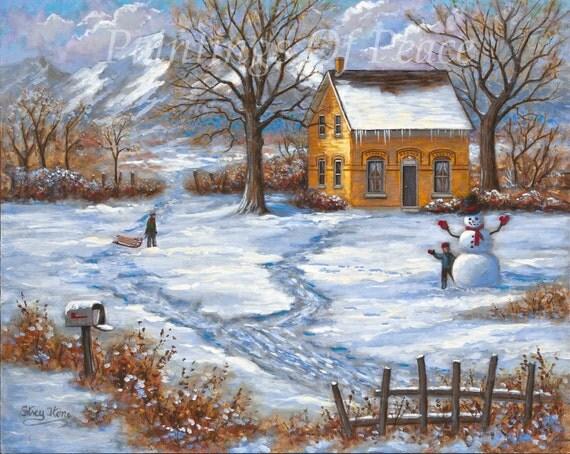 House Painting Landscape Winter Scene Snow Snowman
