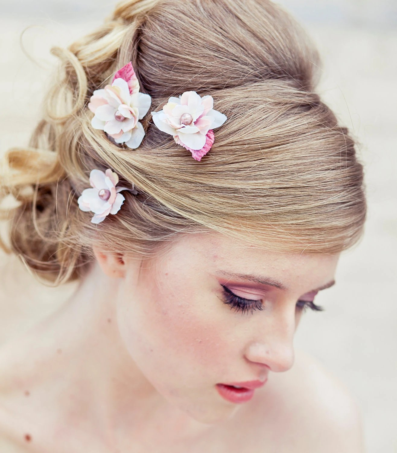 Wedding Hair Accessory Set of Three Flower Bobby Pins in ivory and Pink Perfect for Brides or Bridesmaids - BeSomethingNew
