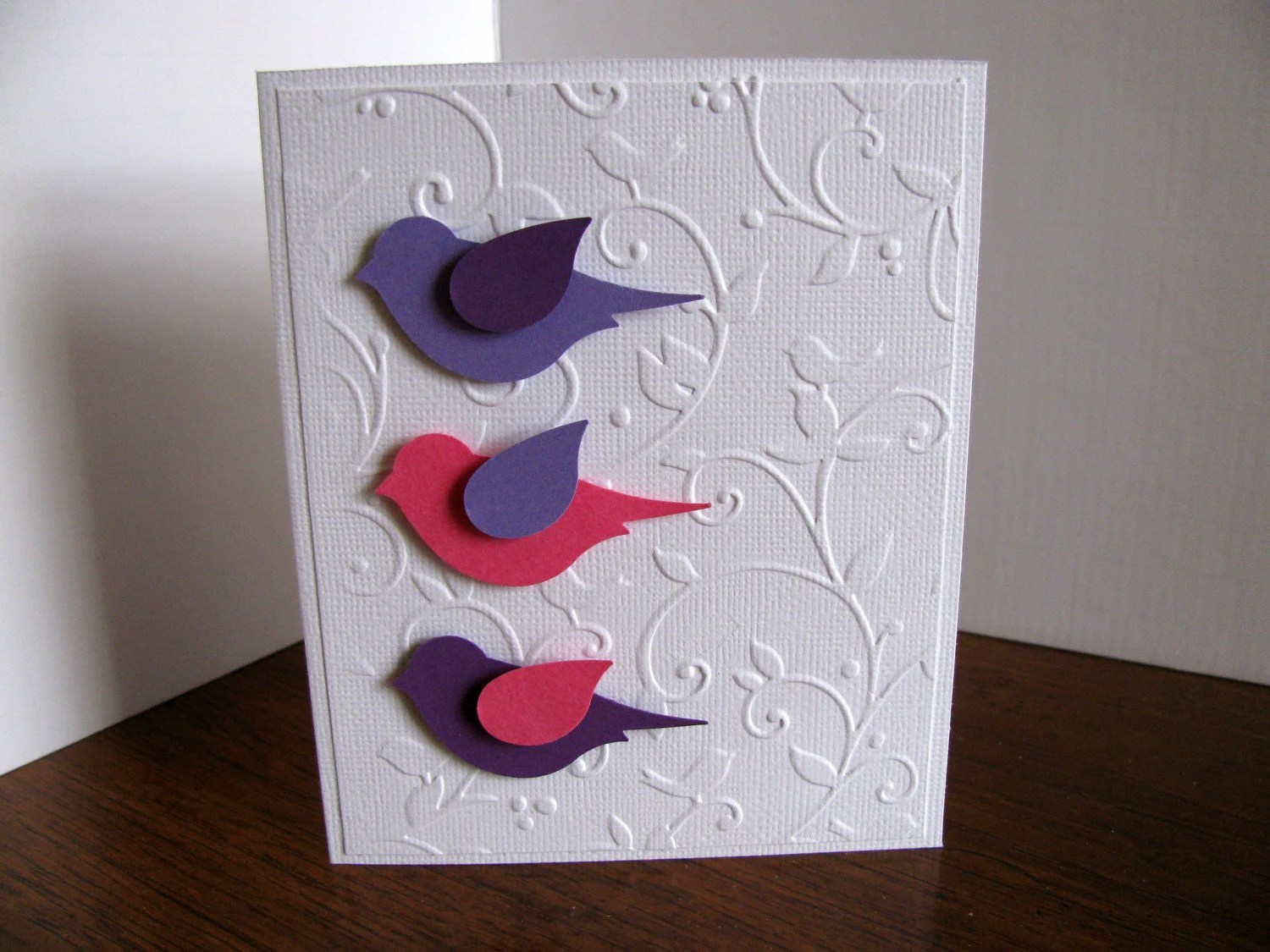 Trio of 3D Birds on Embossed Bird Background Card. Fuschia. Purple Ready to Ship or YOU Choose Colours for 3D Birds - aboundingtreasures