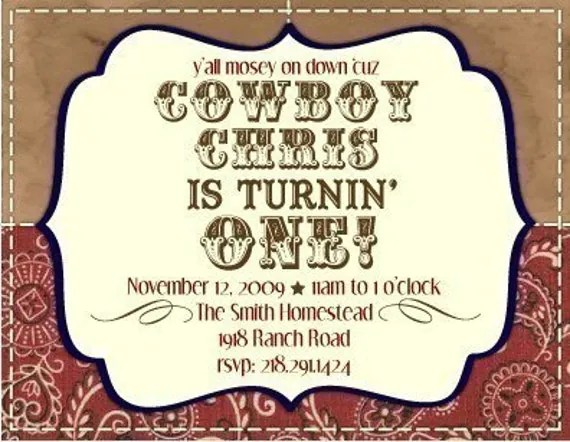 Items Similar To PRINTABLE Personalized Cowboy Birthday