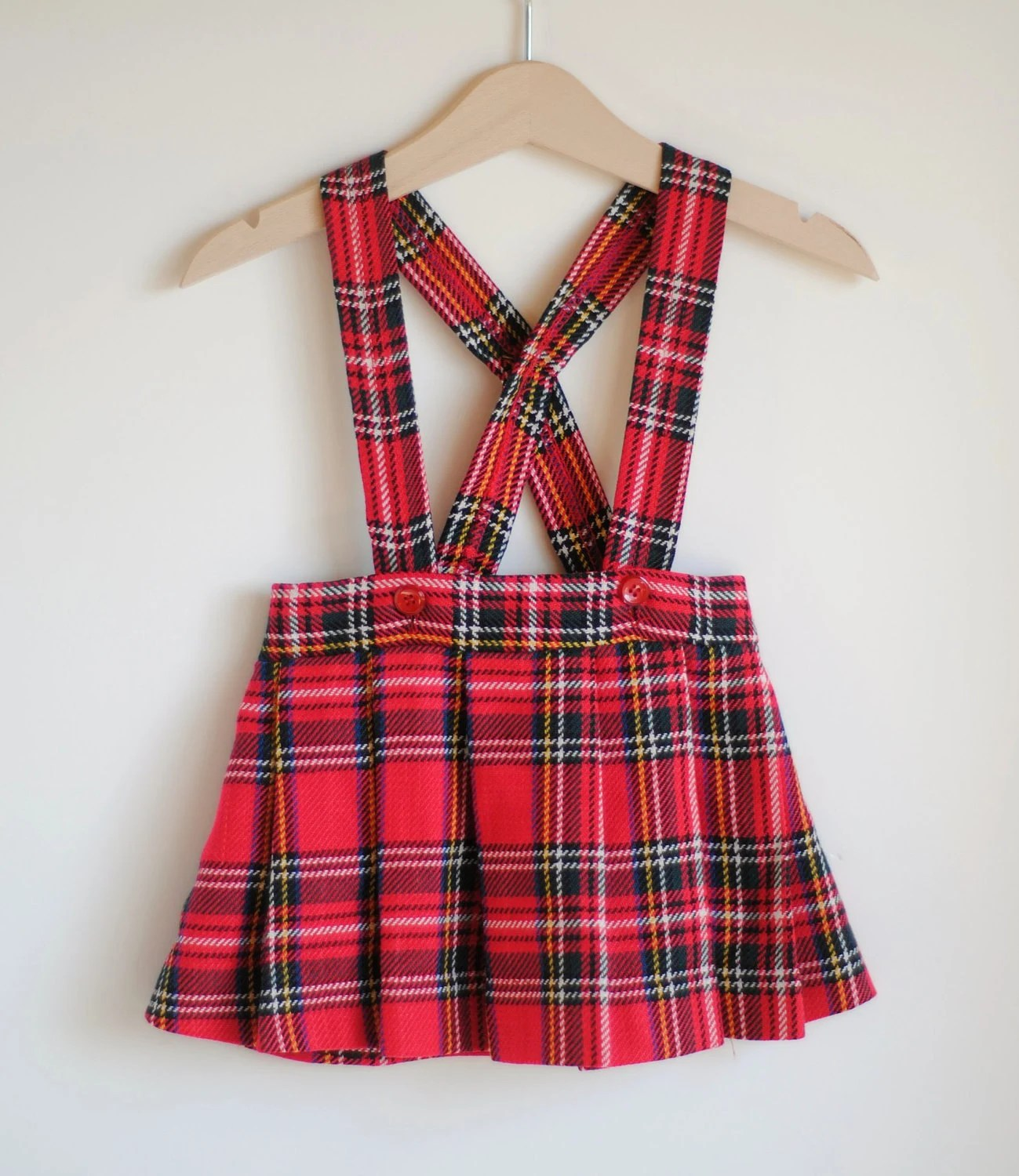 Vintage Toddler Girl Plaid Suspender Skirt 2T