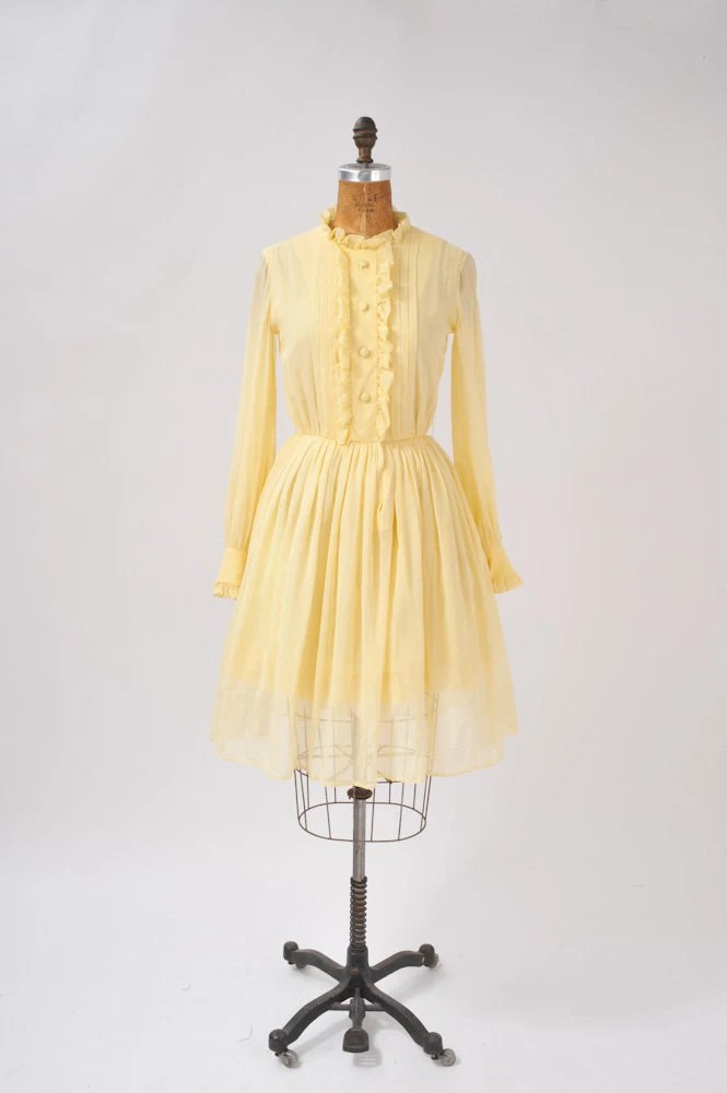 Vintage 1960's Yellow Dress 60's Designer Mr. Mort Sheer Shirt Dress Wide Skirt - missfarfalla