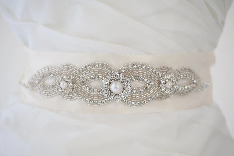 Bridal Gown Sash Wedding Dress Sash Rhinestone Sash Beaded