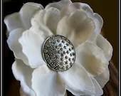 Michaela White Silk Flower Hair Clip with Silver Rhinestone Vintage Fascinator