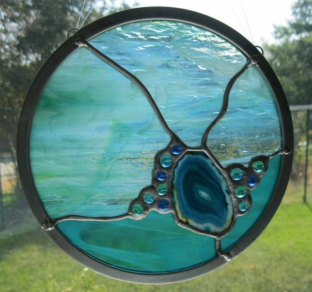 Abstract Round Stained Glass Panel Aqua Blue With Agate