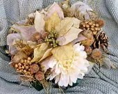Golden Forest Copper Gold Glitter Poinsettia Rustic Orchard Bridal Bouquet - ExpressionsFloral