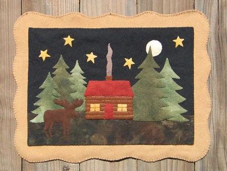 Moose Lake Cabin Wool Applique PATTERN