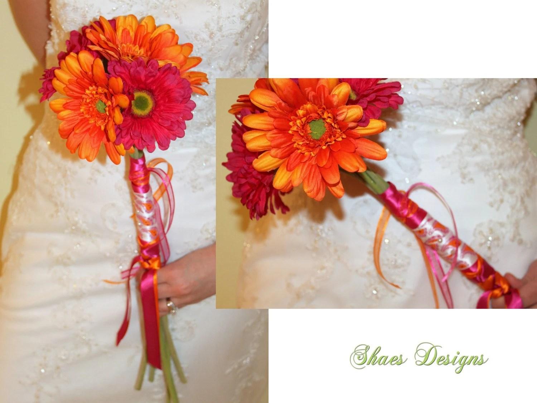 SALE Fuschia Fuchsia Hot Pink And Orange Gerbera By