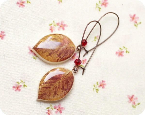 Caramel Leaf earrings  (E031)