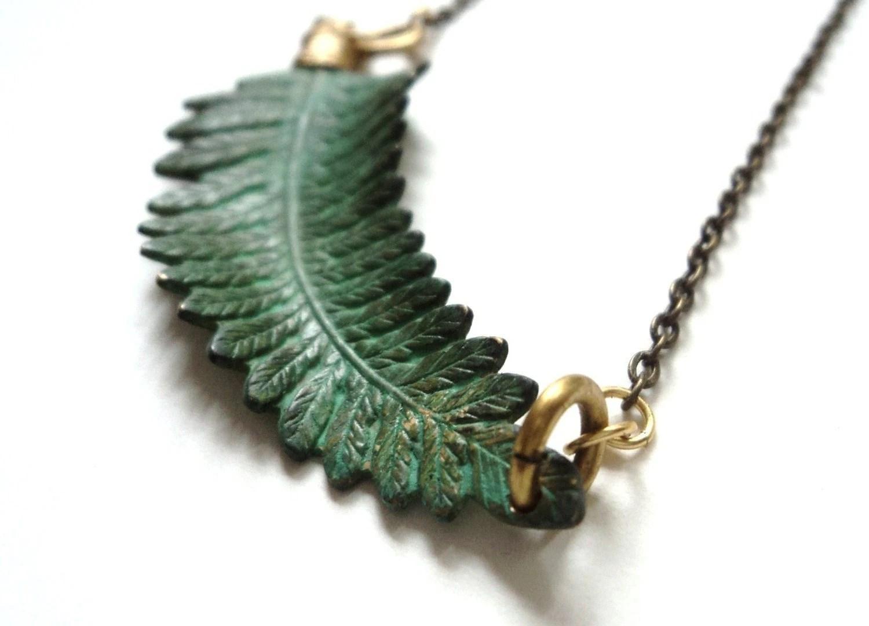 Necklace, Fern, Verdigris, Green, Nature - SimoneSutcliffe