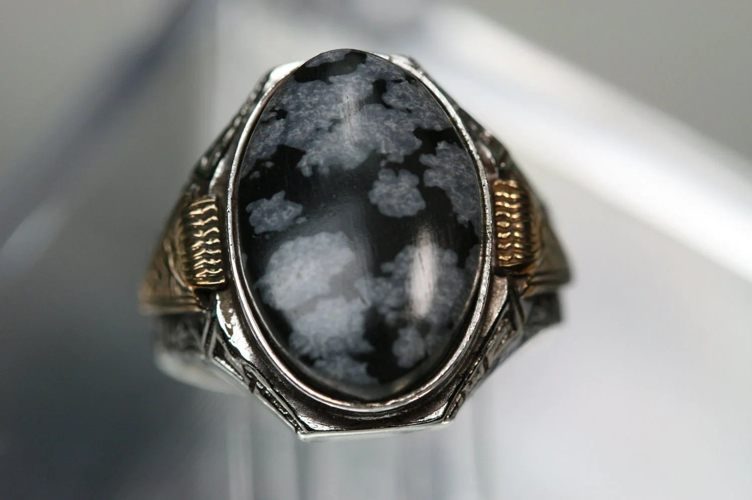 Ring Vintage Sterling And Snowflake Obsidian Mens Ring