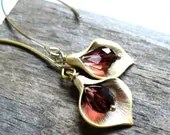 Burgandy and Gold Calla Lily Earrings - moderntrinkets