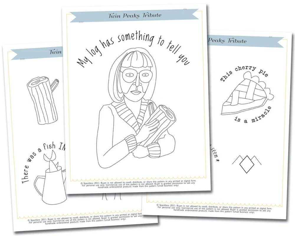 Twin Peaks Tribute Embroidery Pattern Set