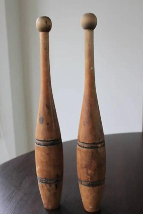 Old Antique Wooden Vintage Indian Juggling Pins