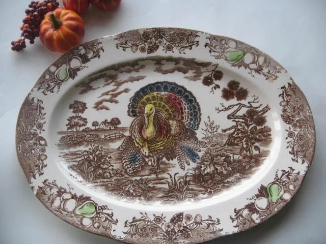 Vintage Brown Transfer Ware Turkey Platter Made In Japan