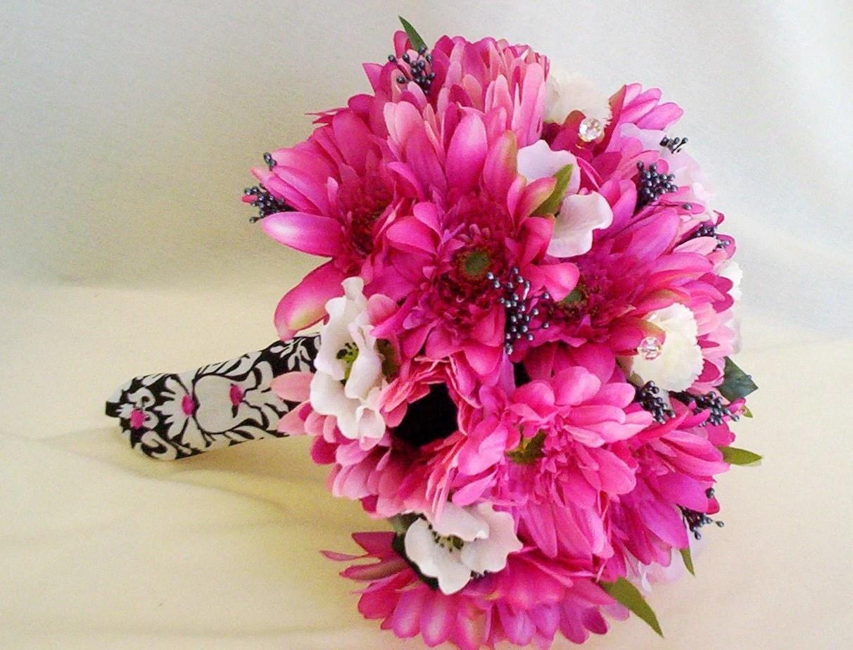 Silk Wedding Flowers Hot Pink And Black Damask Custom Payment