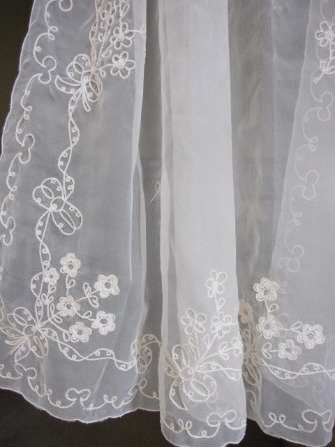 Vintage Sheer Curtains Embroidered Sheer Cafe Curtains