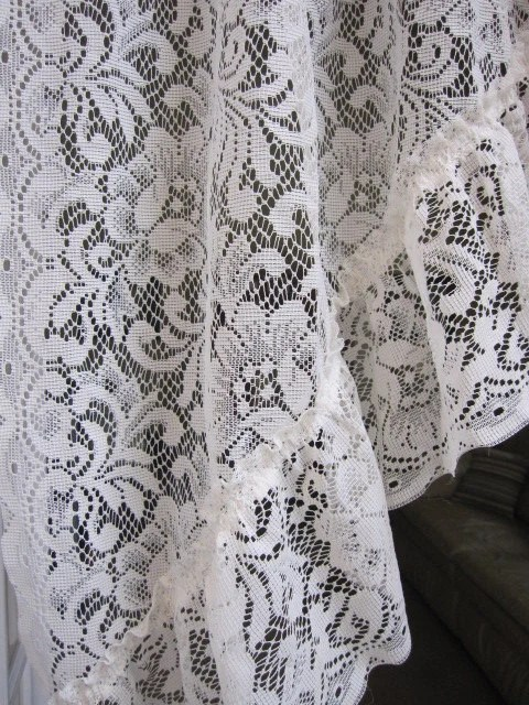 REDUCEDVintage Lace Curtains 2 Ivory Lace Ruffled Curtain
