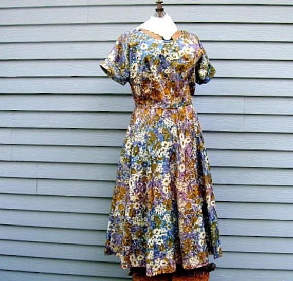 1950s fifties vintage dress large plus size taffeta flowers full skirt etsy