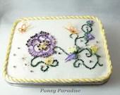 Fiber Art Keepsake Box Tatted Butterfly Garden -Pansy Paradise