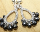 Tatted Lace earrings in Silver -Drips