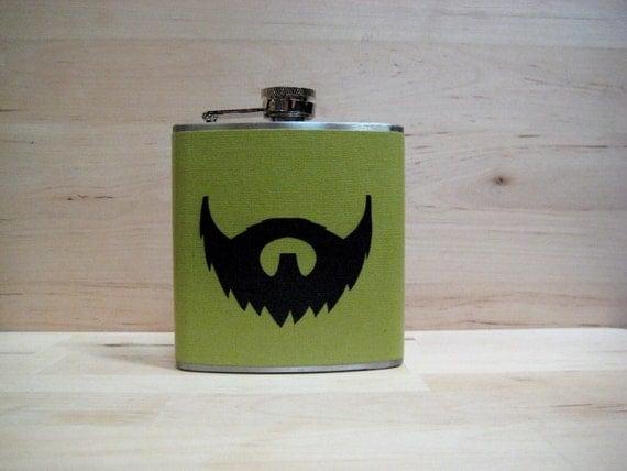 6 oz Stainless Steel - The Beard Love Flask (TM) - on Green