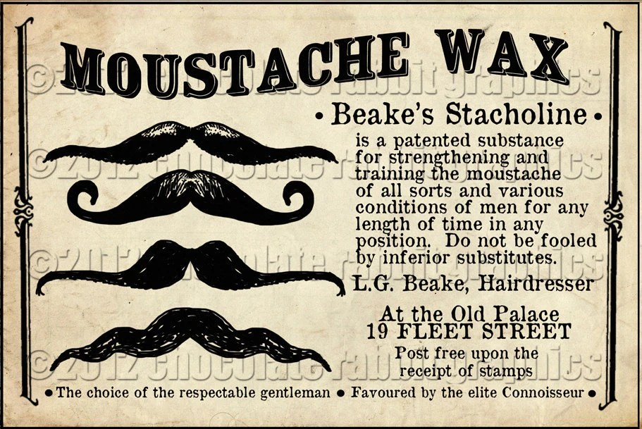 Vintage Victorian Image Digital Download Tag Advertisement Card Scrapbook - Moustache Mustache Wax