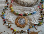 BOHO vintage assemblage necklace stag elk gypsy glass bead unique ooak fresh layers tangle - lilyofthevally