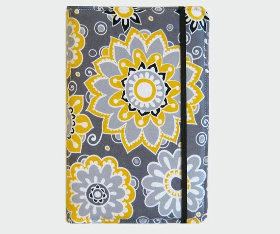 Kindle Cover Hardcover Kindle Case Cover Nook Cover Custom eReader Cover Yellow and Grey - CathyKDesigns