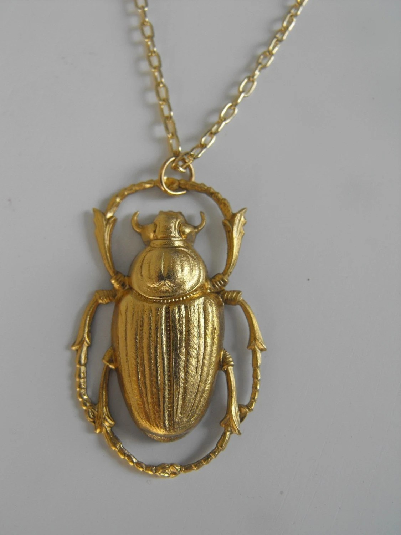 Golden Scarab Beetle Necklace