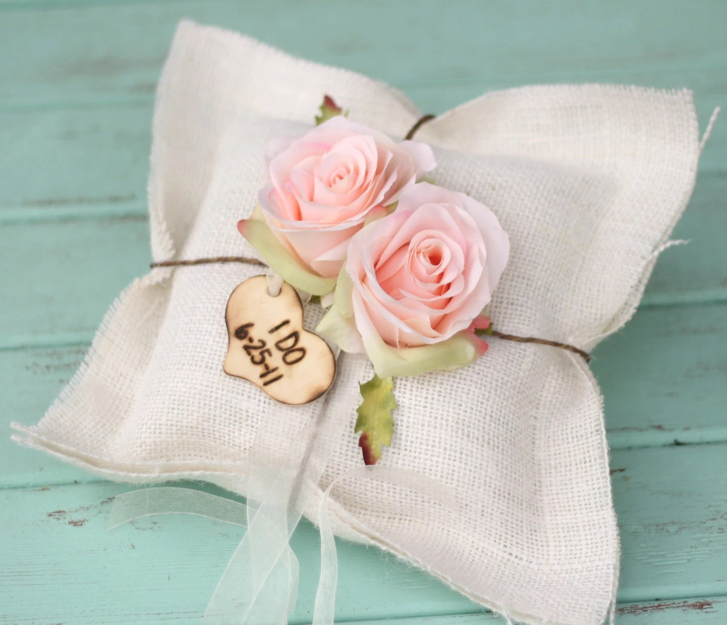 Rustic Ring Bearer Pillow Personalized Engraved Wood Heart Charm Shabby Chic Burlap - braggingbags