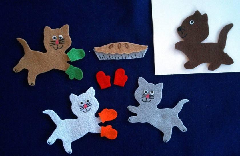 3 little kittens flannel board felt story set and bonus/felt