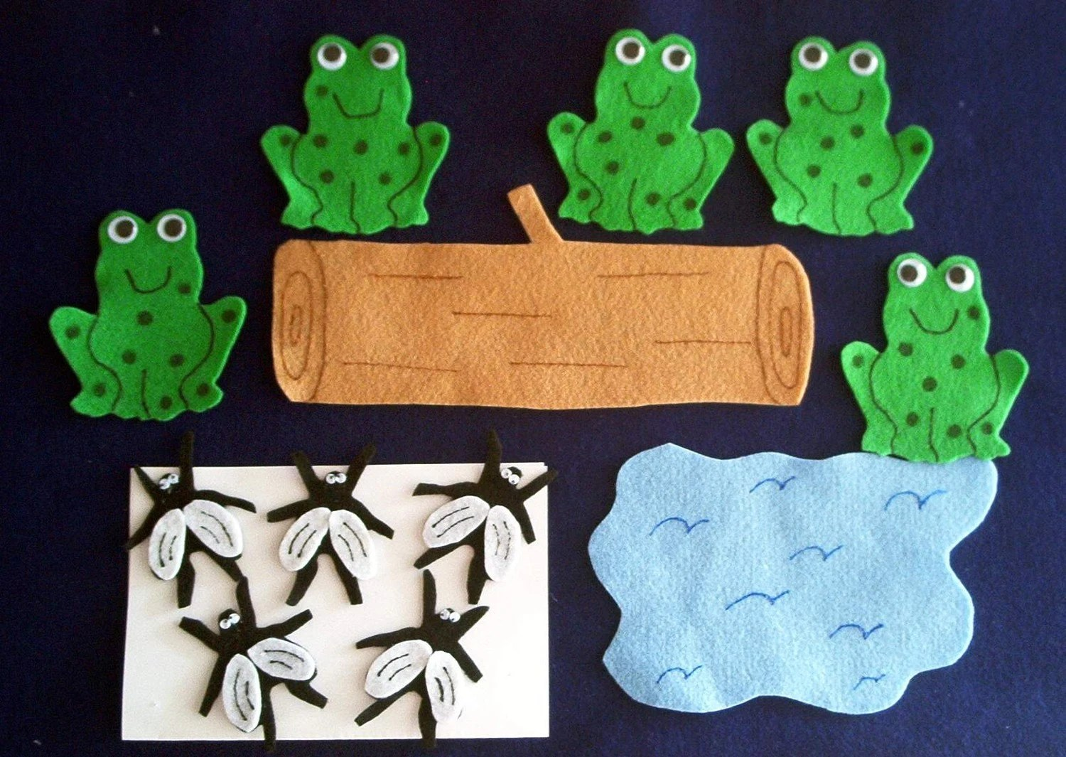 5 Green Speckled Frogs Flannel Board Felt Story By