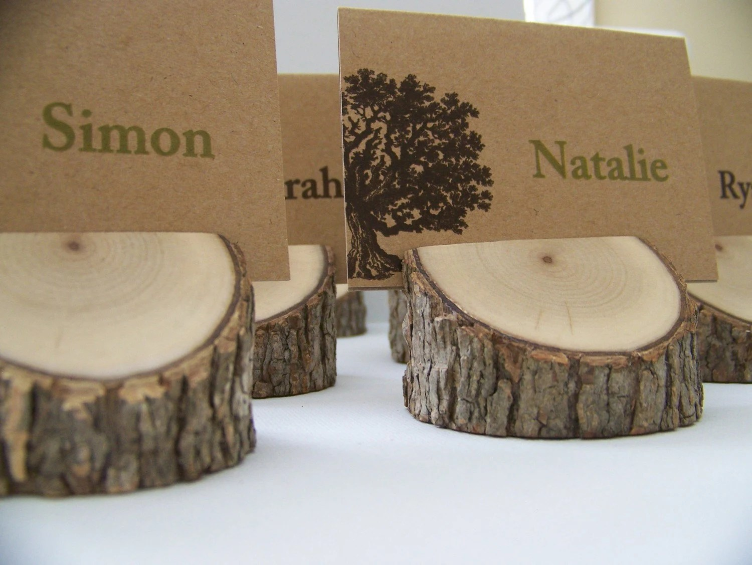 Rustic Wood Tree Place Card Holders Set Of 10 Eclectic Mix