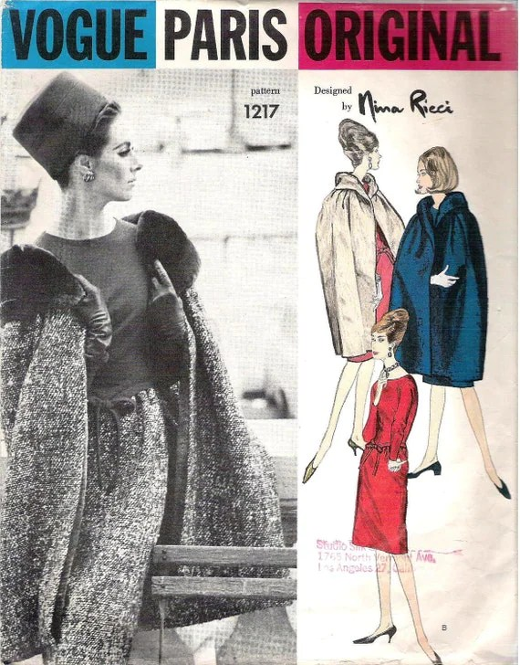 1960s cape and dress pattern, Vogue 1217 by Nina Ricci