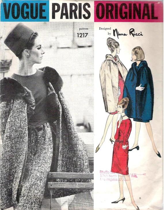 1960s cape and dress pattern, Vogue 1217 by Nina Ricci