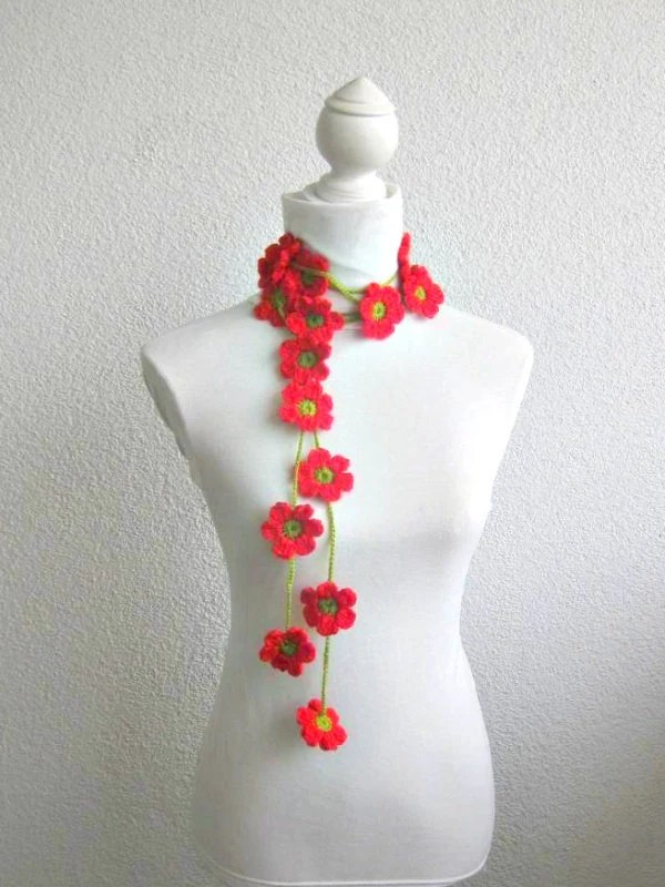 Crochet lariat scarf with Flower in Red, Green,  Necklace,  Crochet Floral Necklace, Feminine, Trendy, Infinity, Summer, Harvest, - Iovelycrochet